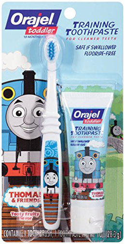 5. Orajel Thomas and Friends Fluoride-Free Training Toothpaste