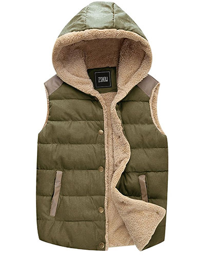4. Qulited Hooded Vest Padded Fleece Jacket