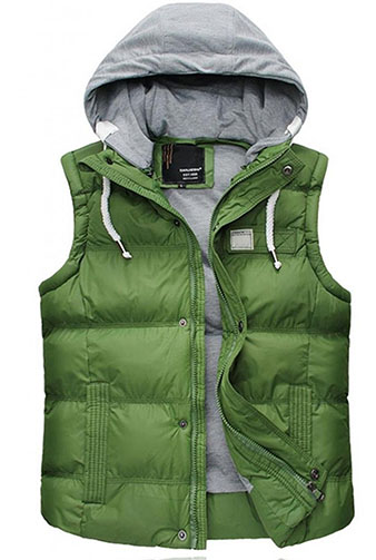 3. Quilted Hooded Vest Padded Fleece Jacket