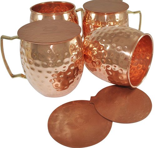 4. DakshCraft ® Handmade Pure Copper Hammered Moscow Mule Mug, Set of 4 with 4 Metal Hammered Coasters