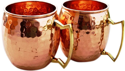 2. Hammered Copper Moscow Mule Mug Handmade of 100% Pure Copper, Brass Handle Hammered Moscow Mule Mug / Cup 16 Ounce, set Of-2,