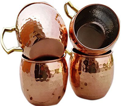 5. Hammered Copper Moscow Mule Mug Handmade of 100% Pure Copper, Nickel Lined, Brass Handle Hammered Moscow Mule Mug / Cup 16 Ounce, set Of-4