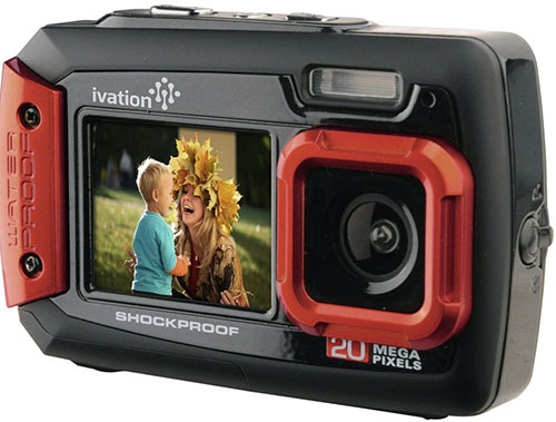 8. Ivation 20MP Underwater Shockproof Digital Camera & Video Camera w/Dual Full-Color LCD Displays - Fully Waterproof & Submersible Up to 10 Feet (Red)