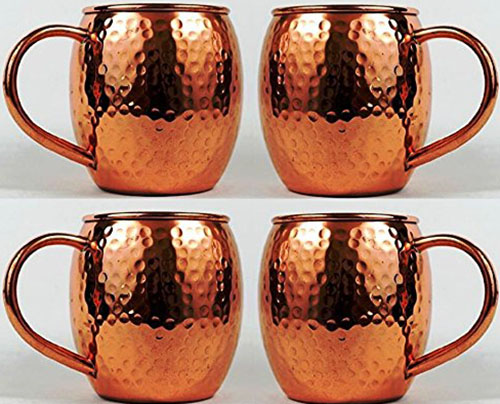 9. Hammered Copper Barrel Mug for Moscow Mules Size 16 Oz Set Of-4