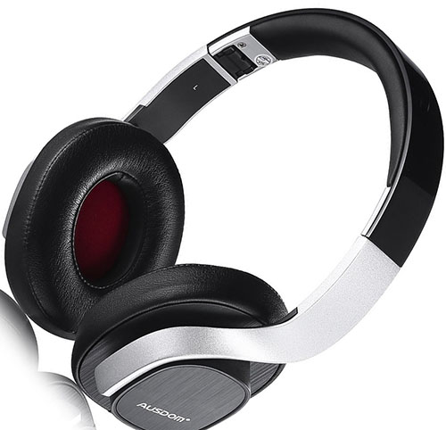 5. Ausdom M08 Bluetooth Wireless Foldable Hi-fi Stereo Headphones With CSR Bluetooth V4.0+EDR and AptX (US Version) with Microphone Black and silver
