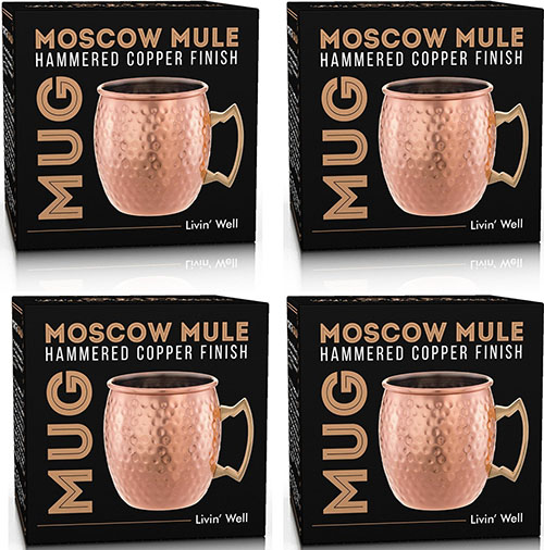 7. Moscow Mule Hand Hammered Copper Mug - 18 oz. - Set of 4 with FREE BONUS Cocktail Recipes