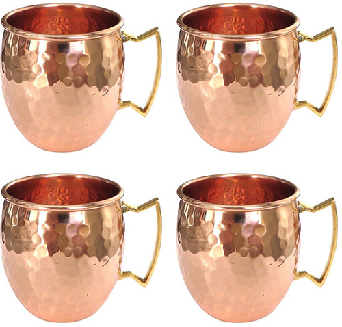 8. 4 Moscow Mule Hammered Pure Copper Mugs / Cup, 16 Ounce, Set of 4