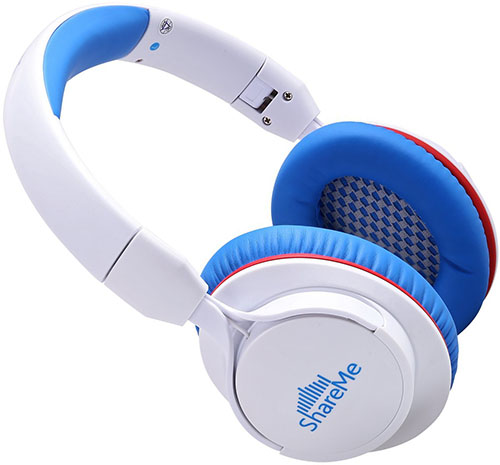 6. [CNET's PICK] Over-Ear Bluetooth Headphones, Mixcder® Share ME Wireless Music Stereo Sports/Running Foldable Headset Volume Control with Built-in Noise Cancelling Mic (Blue/White)
