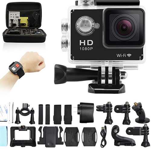 1. GeekPro 4.0 Sport Action Camera 2inch Sports Video WIFI Cam 12MP Underwater Camcorder 1080P Wrist 2.4G Wireless RF Remote Control Portable Carrying Bag