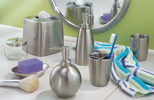 8. InterDesign Forma Toothbrush Holder Cup For Bathroom Vanity Countertops- Brushed Stainless Steel