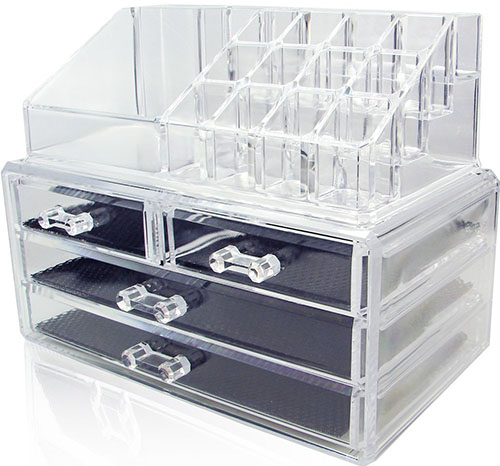1.Ikee Design Acrylic Jewelry & Cosmetic Storage Display Boxes Two Pieces Set.