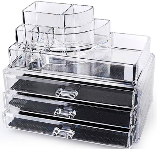 3. Home-it Clear acrylic makeup organizer cosmetic organizer and Large 3 Drawer Jewelry Chest or makeup storage ideas Case Lipstick Liner Brush Holder make up boxes Organizer measures (10