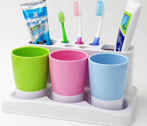 6. KF 246 Plastic Bathroom Toothbrush Toothpaste Stand Holder Storage Rack Box Set By Just Life