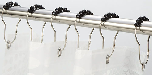 4. Amazer Black Shower Curtain Rings Hooks (Set of 12)