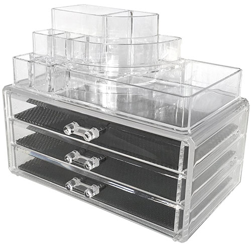 9. Sodynee® Acrylic Makeup organizer Cosmetic organizer Jewelry and Cosmetic Storage Display Boxes Two Pieces Set (3 Drawer makeup storage + Lipstick Liner Brush Holder)