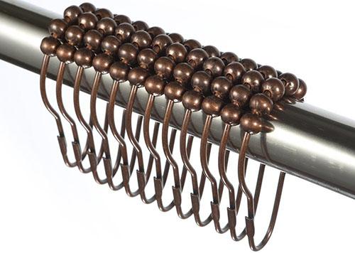 8. AMAZER Polished Bronze Shower Curtain Rings Hooks (Set of 12)