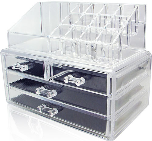 5. Unique Home Acrylic Jewelry & Cosmetic Storage Makeup Organizer, Clear, Medium, 2 Piece