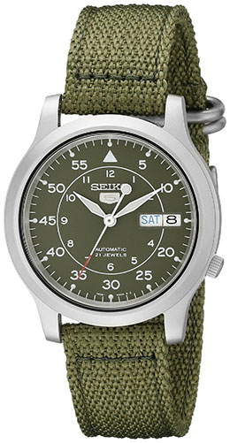 1. Seiko Men's SNK805 Seiko 5 Automatic Stainless Steel Watch with Green Canvas Strap