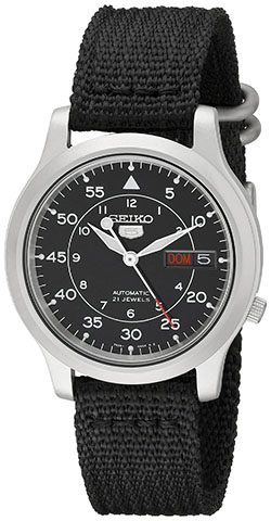 2. Seiko Men's SNK809 Seiko 5 Automatic Stainless Steel Watch with Black Canvas Strap