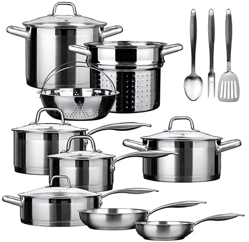 6. 17 piece Stainless Steel Cookware Set
