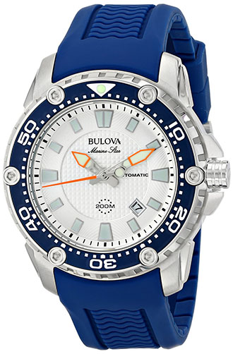 9. Bulova Men's 98B208 Stainless Steel Automatic Watch With Blue Rubber Band