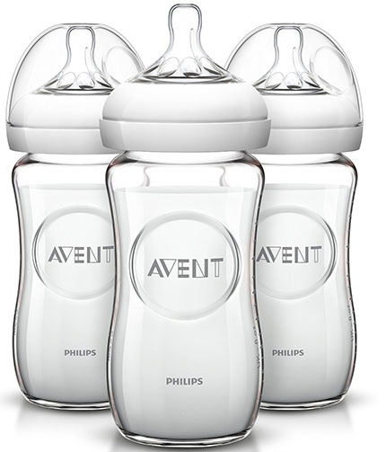 9. Philips AVENT Natural Glass Bottle, 8 Ounce (Pack of 3)