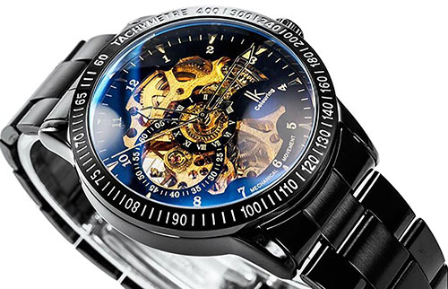 6. GuTe Casual Mens Black Steel Skeleton Automatic Mechanical Coated Glass Wristwatch Golden Dial