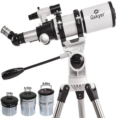 10. Gskyer Space Astronomical Refractor Telescope 400x80mm Dual-speed Slow Motion with Aluminum Tripod