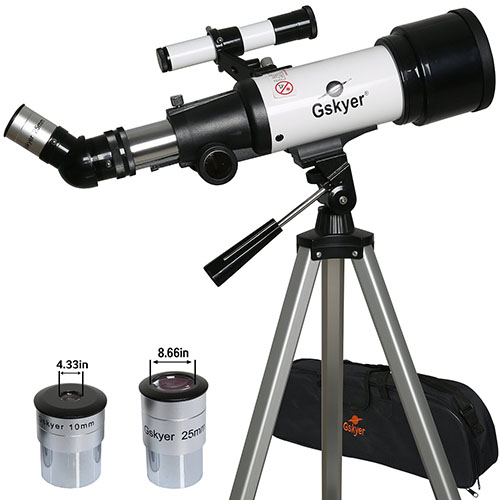 8. Gskyer Refractor 400x70mm Travel Telescope with 2 Eyepiece Aluminum Tripod & Canvas Case