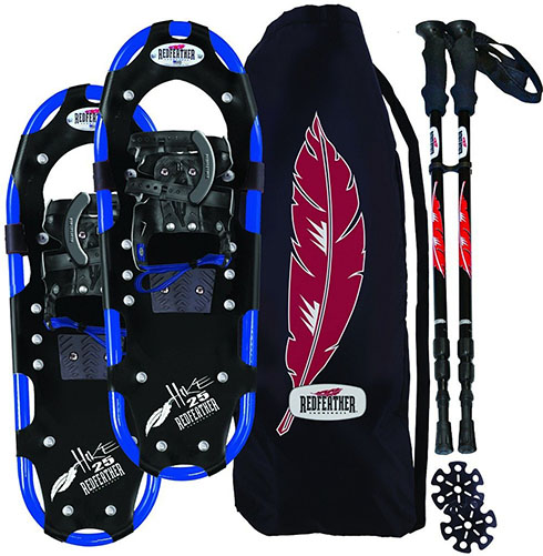2. RedFeather Men's HIKE Recreational Series Snowshoe Kit with SV2 Bindings, Ski Poles and Carry Bag