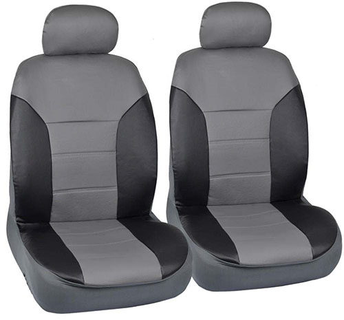 6. Motor Trend Black/Gray Two Tone PU Leather Car Seat Covers - Classic Accent - Premium Leatherette - Front Pair