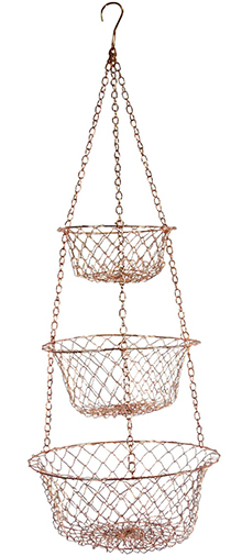 4. Hanging Three-Tiered Decorator Design Copper Basket