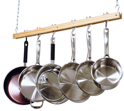 5. Cooks Standard Ceiling Mount Wooden Pot Rack