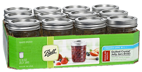 2. Ball Mason 8 oz Quilted Jelly Jars w/ Lids and Bands