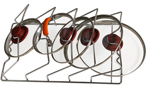 10. DecoBros Wall Door Mounted Pot Lid Rack
