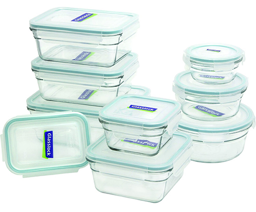3. Glasslock 18-Piece Assorted Oven Safe Container Set