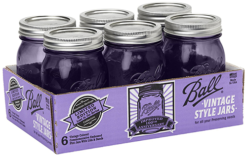 5. Jars with Lids and Bands, Purple, Set of 6