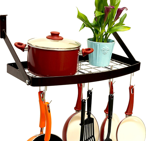 3. Wall Mount Square Grid Pot Pan Rack