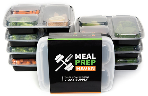 6. Meal Prep Haven 3 Compartment Food Containers