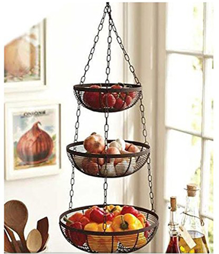 7. Chain Design Hanging Fruit Basket