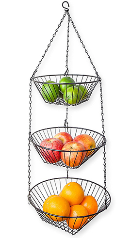 5. Black Wire Hanging Three-Tiered Basket