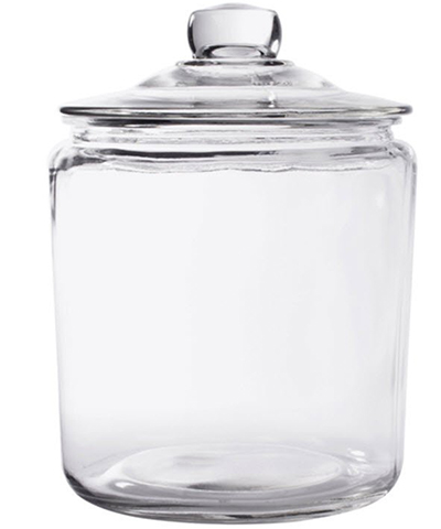 9. Glass Cookie Candy Penny Jar with Glass Lid