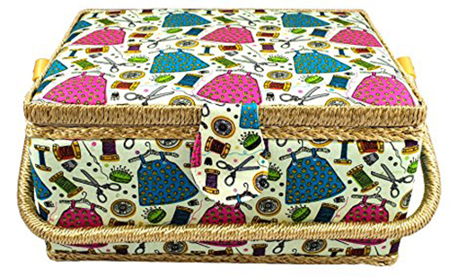 7. Large Fabric Covered Sewing Basket