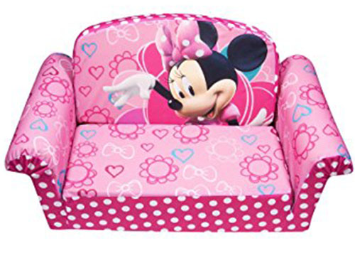 1. Marshmallow Furniture Minnies Bow-Tique Flip Open Sofa