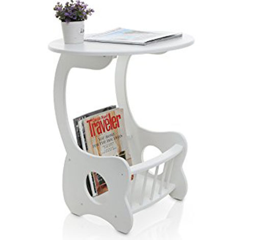 1. MyGift White Wood Pedestal End Table, Round Display Stand with Magazine Rack