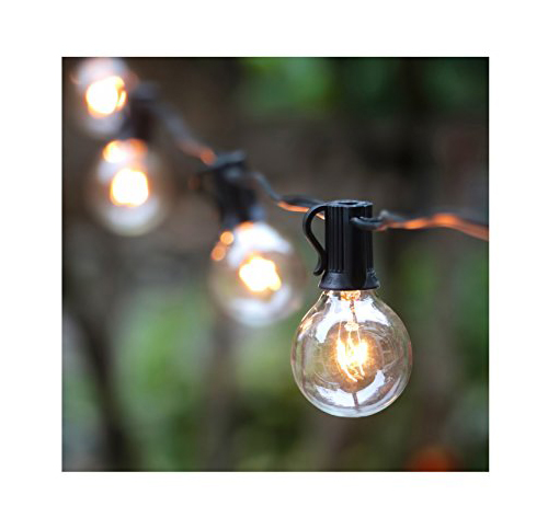 Top 10 best outdoor string lights in 2018 reviews 25ft g40 globe string lights with clear bulbs ul listed backyard patio lights hanging indooroutdoor string light aloadofball Gallery