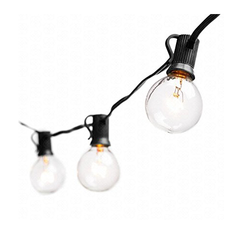 9. Deneve Black String Lights with G40 Bulbs