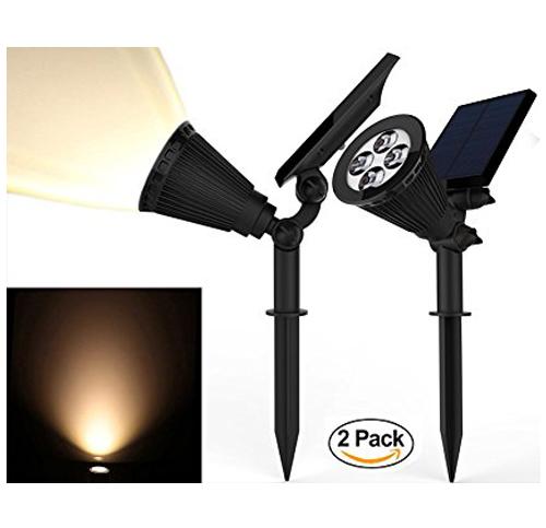 2. Magictec 2 Pack 2-in-1 Landscape Solar Spotlights