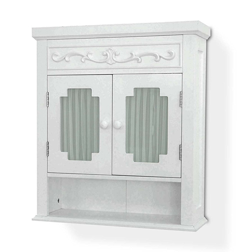 7. Elegant Home Fashions, The Lisbon-Collection Shelved Wall-Cabinet with Glass-Paneled Doors
