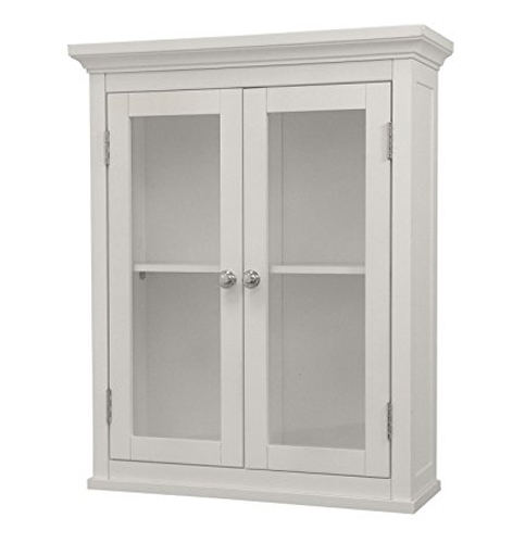 9. Elegant Home Fashions - The Madison Collection Shelved Wall Cabinet with Glass-Paneled Doors